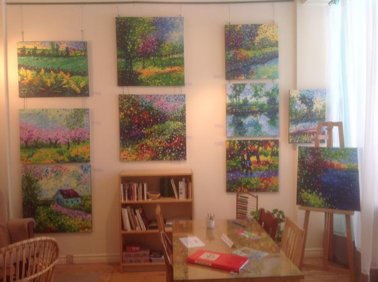 exposition peintures Serge Chagnon chez rose cafe